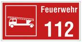 Brand säkerhet tecken brand brandbil bil varningstecken — Stockvektor