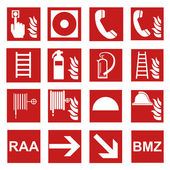 Fire safety sign fire fire warning sign set — Stockvector
