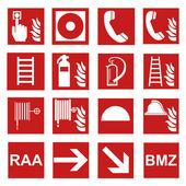 Yangın emniyet işareti yangın yangın uyarı işareti kümesi — Stok Vektör