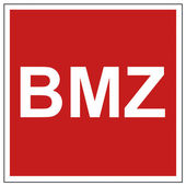 Avfyra säkerhet tecken bmz varningstecken — Stockvektor
