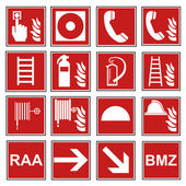 Fire safety sign fire fire warning sign set — Stock Vector