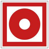 Brand säkerhet tecken branddetektorer hand larm varningsskylt — Stockvektor