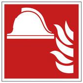 Brand säkerhet tecken hjälm varningstecken — Stockvektor