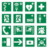 Rescue signs icon exit emergency set — 图库矢量图片