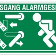 Rescue signs icon exit emergency exit figure door alarm system — 图库矢量图片