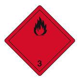Fuoco rischio radioattivo per il teschio infiammabile icona segni sostanze pericolose — Vettoriale Stock