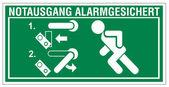Rescue signs icon exit emergency exit figure door alarm system — Stock Vector