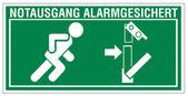 Rescate signos icono salida salida de emergencia Figura puerta sistema de alarma — Vector de stock