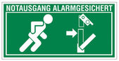 Redding tekenen pictogram afrit nooduitgang figuur deur alarmsysteem — Stockvector
