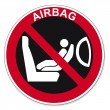 Постер, плакат: Prohibition signs BGV icon pictogram Attaching a child seat to seat airbag Secured prohibited