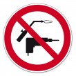 Prohibition signs BGV icon pictogram drilling and welding prohibited - Stock Vector
