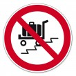 Prohibition signs BGV icon pictogram Use escalator with suitcase load cars banned — Stock Vector #11579794