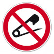 Prohibition signs BGV icon pictogram No needles prick tailor — Stock Vector