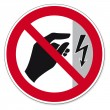 Постер, плакат: Prohibition signs BGV icon pictogram Do not touch housing energized