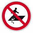 Постер, плакат: Prohibition signs BGV icon pictogram Trespassing Through risk of falling