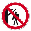 Постер, плакат: Prohibition signs BGV icon pictogram Do not walk behind the arm