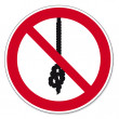 ������, ������: Prohibition signs BGV icon pictogram Rope knot prohibited