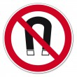 Постер, плакат: Prohibition signs BGV icon pictogram Magnets prohibited magnetism