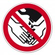 ������, ������: Prohibition signs BGV icon pictogram Hand washing with solvents prohibited