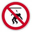 Постер, плакат: Prohibition signs BGV icon pictogram Power cables touching forbidden