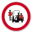 Prohibition signs BGV icon pictogram Prohibited to ride truck - Stock Vector