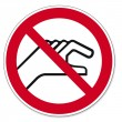 Prohibition signs BGV icon pictogram Prohibited placing your hands — Image vectorielle