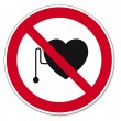 Prohibition signs BGV icon pictogram Heart attack pacemaker — Stock Vector