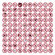 Prohibition signs BGV icon pictogram set collection collage - Stock Vector