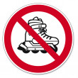 Prohibition signs BGV icon pictogram inline skating prohibited - Stock Vector