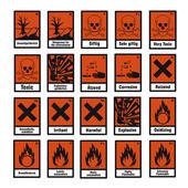 Safety sign danger sign hazardous chemical chemistry toxic set — Stock Vector