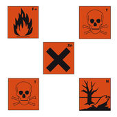 Safety sign danger sign hazardous chemical chemistry toxic set — Stock Vector