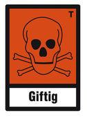 Safety sign danger sign hazardous chemical chemistry toxic skull — Stock Vector