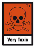 Safety sign danger sign hazardous chemical chemistry very toxic skull — Stock Vector