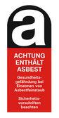 Asa asbest asbestos asbestosis sticker label sing ico hazard symbolactive hazard corrosive — Stock Vector
