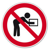Prohibition signs BGV icon pictogram Performing such lifting operations prohibited — Stock Vector