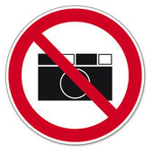 Prohibition signs BGV icon pictogram photographing prohibited paparazzi — Stock Vector