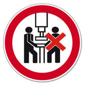 Prohibition signs BGV icon pictogram Machine shall be operated by one person — Stock Vector
