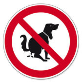 Prohibition signs BGV icon pictogram This is no dog toilet — Stock Vector