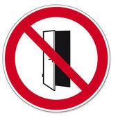 Prohibition signs BGV icon pictogram Doors do not close door open — Stock Vector