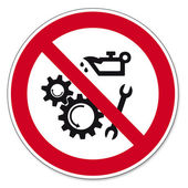 Prohibition signs BGV icon pictogram Lubricating oils prohibited — Stock Vector