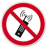 Prohibition signs BGV icon pictogram mobile phone banned smartphone — Stock Vector