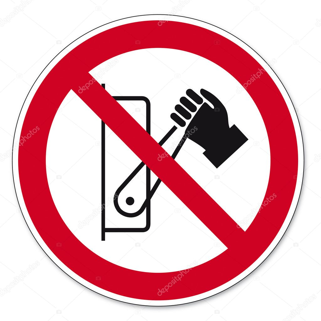 Prohibition sing Lever pressing prohibited on white Background created in Adobe Illustrator. — Stock Vector #11579876