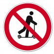 Prohibition signs BGV icon pictogram Scootering prohibited — Stock Vector