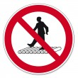 Prohibition signs BGV icon pictogram Do not step on roller track — Stock Vector