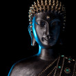 Buddha statue with glow — Stock Photo