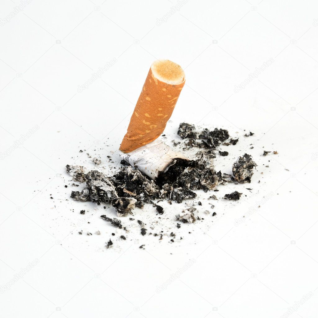 Cigarette butts expressed on white background. Taken in Studio with a 5D mark II. — Stock Photo #11610603