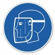 Commanded sign safety sign pictogram occupational safety sign use Face shield head — Vetorial Stock #11783661