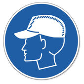 Commanded sign safety sign pictogram occupational safety sign Wear bump caps — Stock Vector