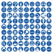Commanded sign safety sign pictogram occupational safety sign General mandatory sign set collection — Stock Vector