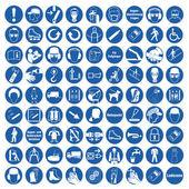 Komuta işareti emanet işareti sembol iş güvenliği genel zorunlu işareti koleksiyonu ayarla — Stok Vektör